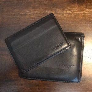 Coach Bags - COACH Black Wallet with Dark Navy Stripe
